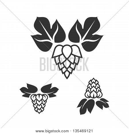 Set of sign beer hop label isolated on white background. Hop icon. Hop sign. Beer icon
