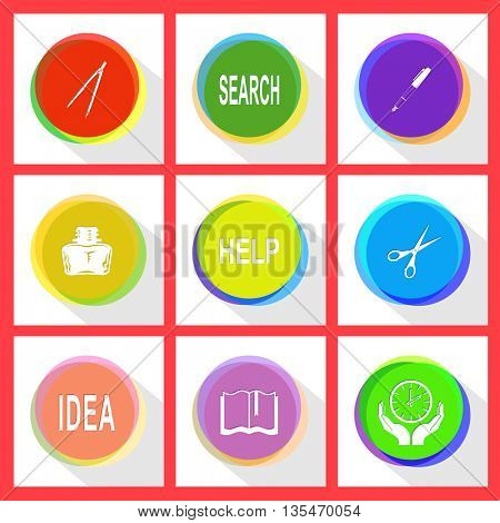 caliper, search, ink pen and pencil, inkstand, help, scissors, idea, book, clock in hands. Education set. Internet template. Vector icons.
