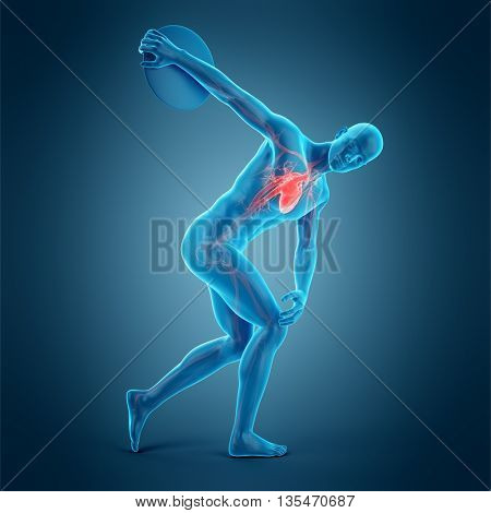 3d rendered, medically accurate 3d illustration of a discus thrower