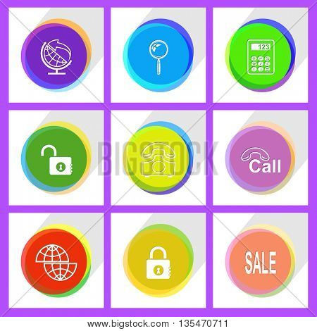 shift globe, opened lock, globe and arrow, closed lock, rotary phone, magnifying glass, sale, hotline, calculator. Business set. Internet template. Vector icons.