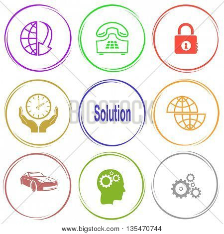 globe and array down, push-button telephone, closed lock, clock in hands, solution, shift globe, car, human brain, gears. Business set. Internet button. Vector icons.