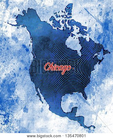 Artistic North American Map featuring Chicago, Illinois with a combination of styles