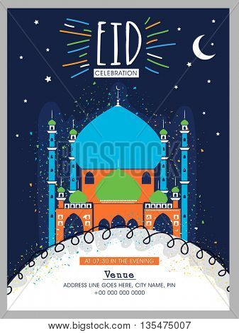 Creative Pamphlet, Banner, Flyer or Invitation Card design with Colourful Mosque for Islamic Holy Festival, Eid celebration.