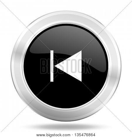 prev black icon, metallic design internet button, web and mobile app illustration