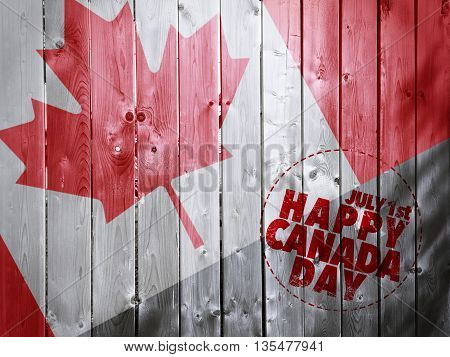 Happy Canada day on Wooden fence texture background