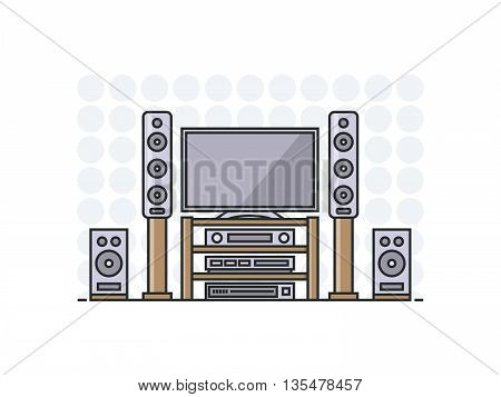 home cinema system in flat line stile. Isolated illustration.