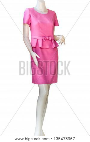 Thai dresses on mannequins isolate white background with clippingpath