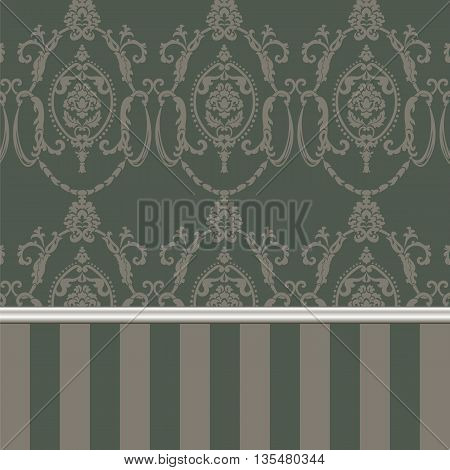 Vector damask pattern ornament. Molding Border and stripes. Elegant luxury texture for textile fabrics or backgrounds.