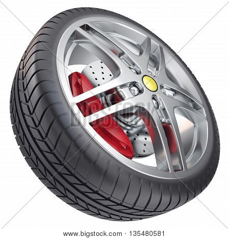 Car wheel isolated on white background 3d illustration
