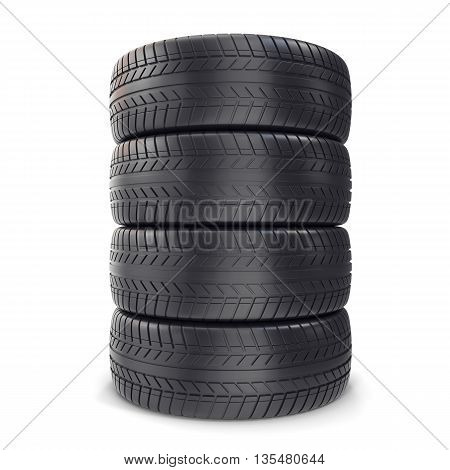 Pile Car wheels on white background 3d illustration