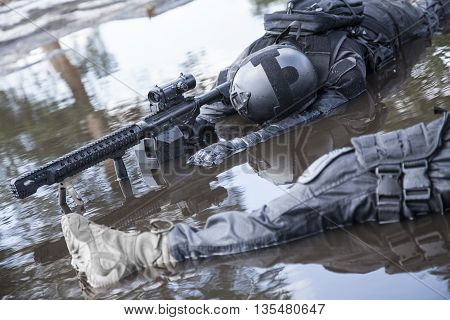 Simulated dead bodies of special forces operators killed during a special operation.