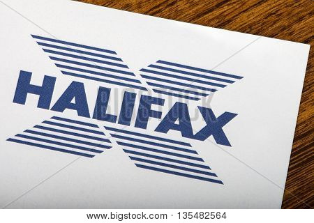LONDON UK - JUNE 13TH 2016: The logo for Halifax Bank on one of their information leaflets on 13th June 2016. Halifax is the UK's largest provider of residential mortgages and savings accounts.
