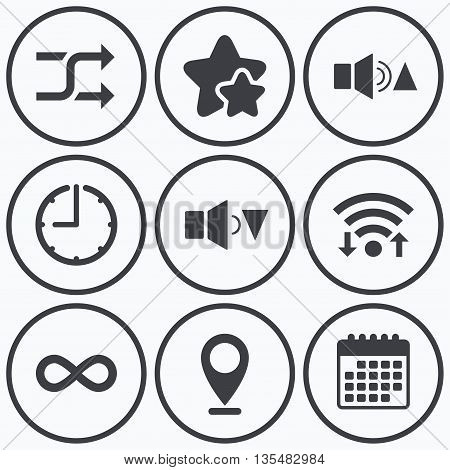Clock, wifi and stars icons. Player control icons. Sound louder and quieter signs. Dynamic symbol. Shuffle random and repeat loop. Calendar symbol.