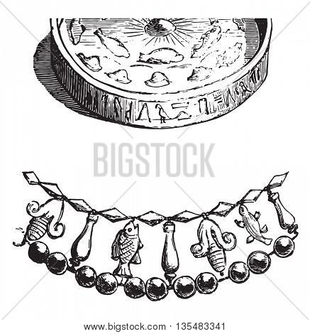 Ancient Egyptian gold and amber collar necklace,  found at the Louvre Museum. From Fine Arts Book, vintage engraving, 1880.