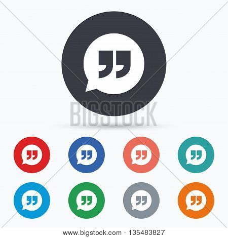 Quote sign icon. Quotation mark symbol. Flat quotes icon. Simple design quotes symbol. Quotes graphic element. Circle buttons with quotes icon. Vector