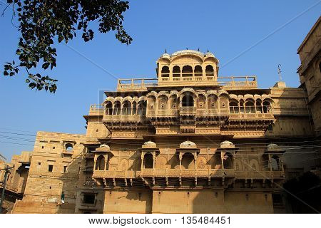 Haweli with plenty of balconies with decorative pillars and arches at Jaisalmer Fort in Jaisalmer Rajasthan India Asia