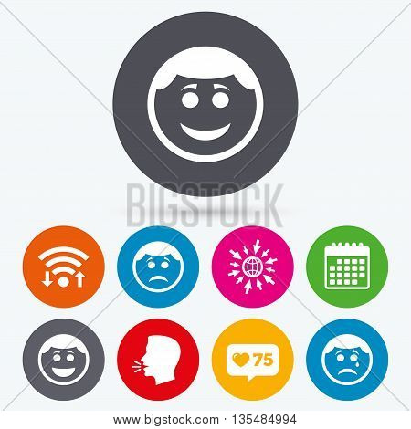 Wifi, like counter and calendar icons. Circle smile face icons. Happy, sad, cry signs. Happy smiley chat symbol. Sadness depression and crying signs. Human talk, go to web.