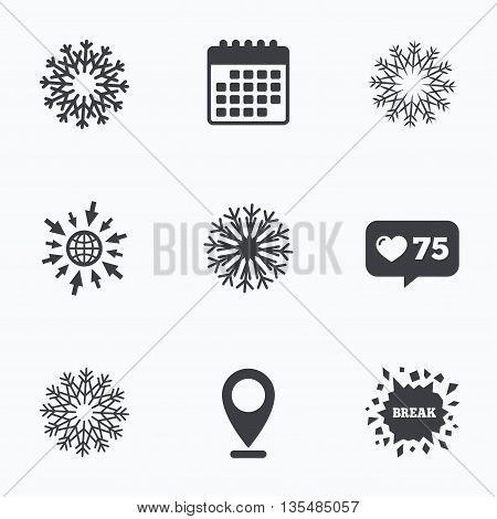 Calendar, like counter and go to web icons. Snowflakes artistic icons. Air conditioning signs. Christmas and New year winter symbols. Location pointer.