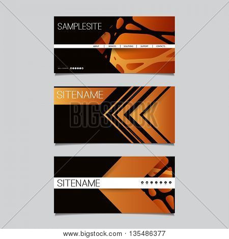 Web Design Elements - Header Design Set with Abstract Brown Pattern Background