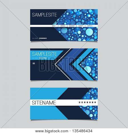 Web Design Elements - Header Design Set with Spotted Blue Abstract Background Pattern