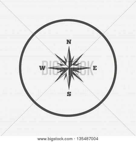 Compass sign icon. Windrose navigation symbol. Flat windrose compass icon. Simple design windrose compass symbol. Windrose compass graphic element. Round button with flat windrose compass icon. Vector