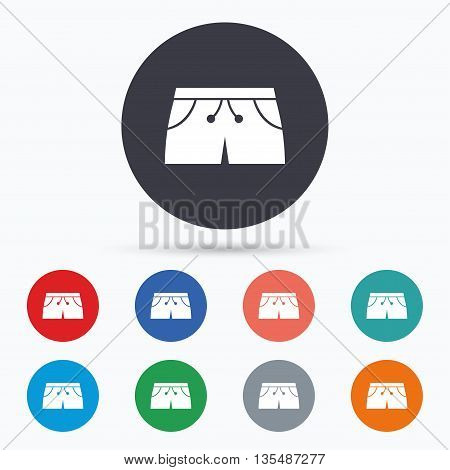 Women's sport shorts sign icon. Clothing symbol. Flat sport shorts icon. Simple design sport shorts symbol. Sport shorts graphic element. Circle buttons with sport shorts icon. Vector