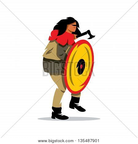 Barbarian Warrior in a defensive stance. Isolated on a white background