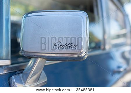 Cadillac Side Mirror Logo During Los Angeles American Heroes Air Show