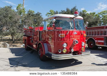Old Fire Truck During Los Angeles American Heroes Air Show