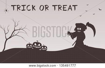 Halloween warlock and pumpkins silhouette flat illustration