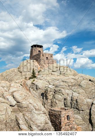 Harney Peak Watchtower and pump house in Custer State Park in the Black Hills of South Dakota USA which was built in 1938 by the Civilian Conservation Core