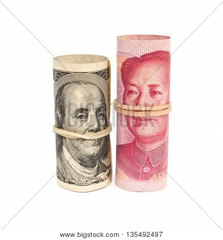 USD & RMB binded with elastic on white background