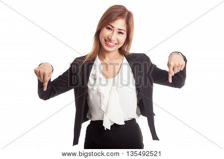 Beautiful Young Asian Woman Point Down To Blank Space