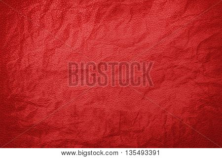 Red crumpled leather texture , texture background