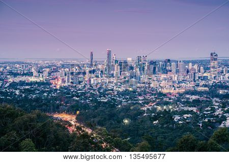 View of Brisbane City from Mount Coot-tha at night. Queensland, Australia.