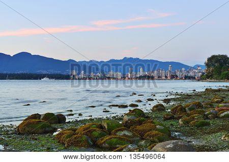 Vancouver English Bay at sunset British Columbia Canada