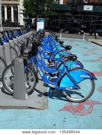 NEW YORK -JUNE 22, 2016: Citi bike station in Manhattan. NYC bike share system started in Manhattan and Brooklyn on May 27, 2013