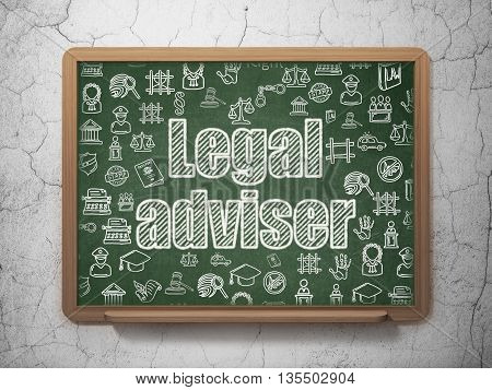 Law concept: Chalk White text Legal Adviser on School board background with  Hand Drawn Law Icons, 3D Rendering