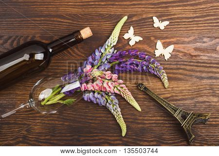 Violet Lupinus In The Wineglass With Decorations