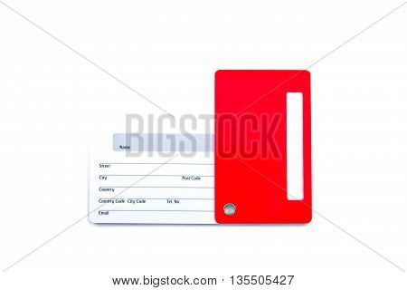 Name Tag for Luggage isolated on white background