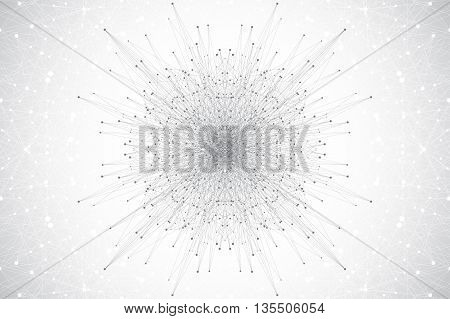 Geometric abstract banners with golden mandala. Molecule and communication background for website templates. Vector illustration