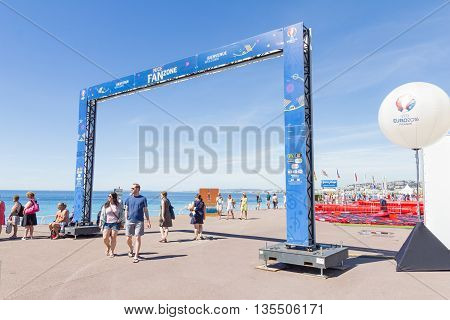 NICE, FRANCE - June 20, 2016: View of the fan zone for the Euro cup 2016 in the Promenade des Anglais. Nice is one of the ten cities where the matches are played during the Euro 2016.