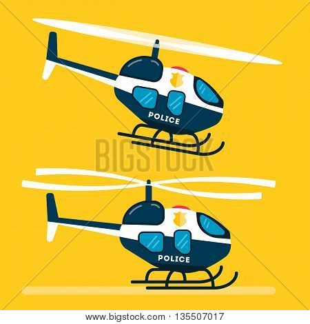 Helicopter icon. Helicopter logo. Helicopter symbol. Silhouette helicopter icon isolated minimal design. Police Helicopter icon. Flat design. Vector illustration
