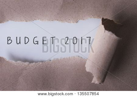 torn paper with word budget 2017.Copyspace area.