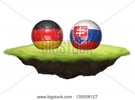 Germany vs Slovakia team balls for football championship tournament, 3D rendering