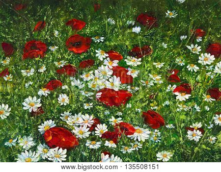 Original oil painting of Opium poppy( Papaver somniferum) and daisy field on canvas.Modern Impressionism