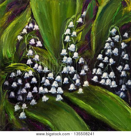 Original oil painting showing Lily of the valley (Convallaria majalis) flowers bouquet on canvas .Modern Impressionism modernismmarinism