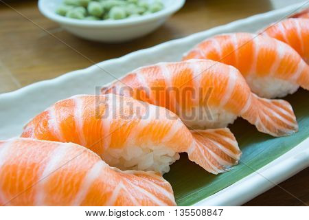 Japanese food sashimi salmon sushi salmon spawn salmon with japanese rice in japanese restaurant.