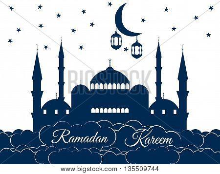Mosque In The Clouds. Ramadan Kareem, Blue Mosque, Minaret, Lantern And Moon, Muslim Holiday Lights.
