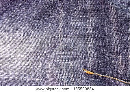 Closeup denim jeans texture. Stitched textured blue denim jeans background. Old grunge vintage denim jeans. Denim jeans with old torn of fashion jeans design. Dark edged poster